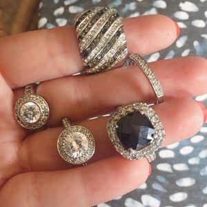 Jewelry - Set of 5 Silver Rhinestone Rings
